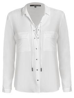 Camisa Feminina Crepe Light - Shoulder - Branco - Shop2gether