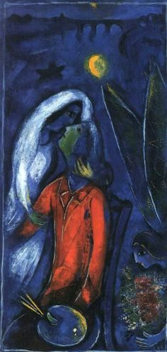 Lovers near Bridge, 1948 by Marc Chagall  Love me like the men do their lovers in the Chagall paintings