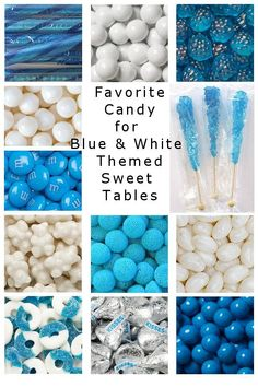 Most favorite candy for a blue and white themed candy buffet, candy table or sweet table. Blue Candy Table, White Candy Bars, Candy Buffet Tables, Frozen Candy Table, Food Buffet, Pink Candy Buffet, Baby Shower Candy Table, Baby Shower Desserts, Baby Shower Fun