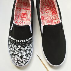 389d3273f68e0c A minimal black and white design in process by BucketFeet artist Pamela  Gallegos. Custom Painted