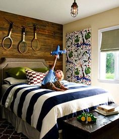 Boys room...love the wood wall