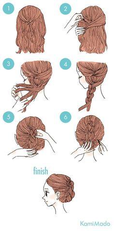 trança invertida com coque - http://passaneura.com/cabelos/50-penteados-para-fazer-sozinha/