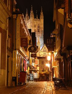 Street in the Old Town of Canterbury, England