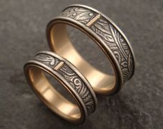 Wedding Ring Set - Commitment Rings - Sunflower Pattern Sterling Silver and 14k Gold Bands