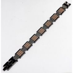 Men's Stainless Steel IP Black and Rose Gold Car Grille Polished Bracelet