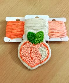 Retro punch needle peach patch Cute retro punch needle peach sew on patch! Embroidery Patches, Beaded Embroidery, Hand Embroidery, Embroidery Designs, Punch Needle Patterns, Cute Crafts, Rug Hooking, Needle Felting, Crochet