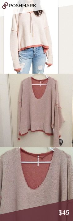 """NWT Free People Pink Dolman Sweater An oversized, cropped Free People sweater, styled with frayed, woven trim. Dropped shoulder seams and long sleeves. Raw scoop neckline. Fabric: Textured knit. 80% polyester/20% cotton. Wash cold.  Measurements Length: 25"""" Bust 58"""" #119 Free People Sweaters V-Necks"""