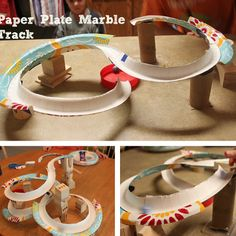 Cute STEM project for Exploring Creation with Chemistry and Physics: Shine Kids Crafts: Paper Craft - paper plates roller coaster Paper Crafts For Kids, Cardboard Crafts, Paper Plate Crafts, Paper Plates, Fun Crafts, Stem Projects, Projects For Kids, Paper Roller Coaster, Roller Coasters