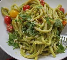 Creamy Avocado Pesto – Replace pasta with zucchini would be amazing too!