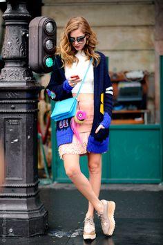 cardi, a crop & Stella McCartney shoes. Chiara in Paris.