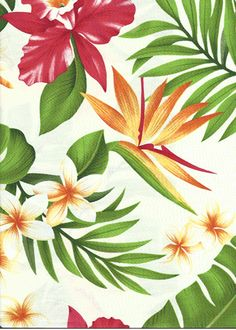 30manoa - Vintage Style Hawaiian fabric print with  plumeria, orchids, and bird of paradise flowers - apparel weight cotton apparel fabric.