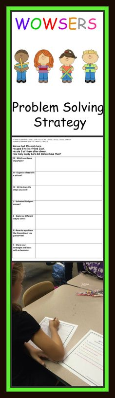 WOWSERS is a problem solving strategy that requires students to highlight important key words, draw a picture, solve the word problem in several ways, explain their thinking using complete sentences, write a new problem using their own ideas, and share their strategies with a partner. This is designed for 1st and 2nd grade students and meets Common Core standards and promotes thinking related to CGI math.