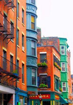 USA Travel Inspiration - Little Italy, Boston, Massachusetts ~ Love those colors esp the orange and blue ♥
