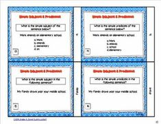 Simple Subject and Predicate Task Cards Simple Subject And Predicate, Teaching Posters, Premium Wordpress Themes, Task Cards, Student, Education, Skin Care, Products, Skincare Routine