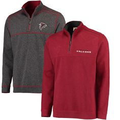 NFL Atlanta Falcons Tommy Bahama Flipside Pro Half-Zip Reversible Sweater - Red/Heathered Black