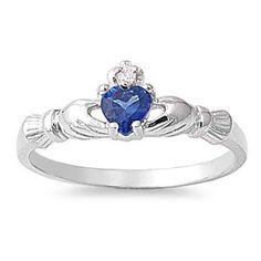 Sterling Silver Claddagh Ring w/ Blue Sapphire CZ Stone Sz 3-9 104561123456
