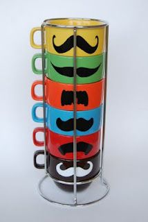 Great stacking mugs with mustaches for Father's Day.