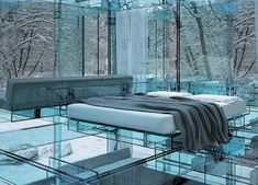 Glass house. This looks really cool...but I would be so freaked out at night.
