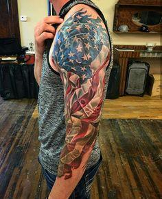 101 Best American Flag Tattoos: Patriotic Designs + Ideas Guide) Cool Patriotic American Flag Sleeve Tattoo - Best American Flag Tattoos: Cool Patriotic US Flag Tattoo Designs and Ideas For Men 4 Tattoo, Sweet Tattoos, Best Sleeve Tattoos, Badass Tattoos, Tribal Tattoos, Tattoo Sleeve Designs, Tattoo Designs Men, Neck Tattoos, American Flag