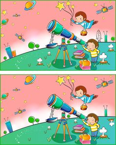 L'espace Find The Difference Pictures, Spot The Difference Kids, Kids Crossword Puzzles, Puzzles For Kids, Preschool Learning Activities, Activities For Kids, Grammar For Kids, English Lessons For Kids, Hidden Pictures