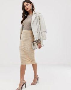 a7d7b0428c63 DESIGN wrap waistband midi skirt in plisse pleat | goodie bag | Midi ...