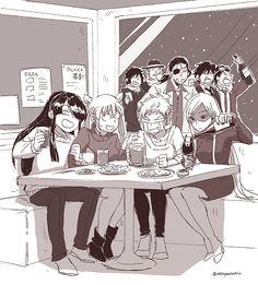 Personajes de Drifters bebiendo! Espera! Aquí hay algo mal: Yoichi no es chica xD.