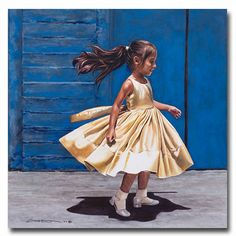 Natalia II by Kara Castro ~ young girl in poofy dress ~ watercolor