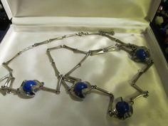 Vtg Renaissance Revival Lapis Glass Art Deco Flapper Necklace Chrome Chain
