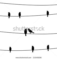 Silhouette of birds on the wires for decoration.
