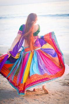 Custom Gopi Skirt Outfit – Double rainbow