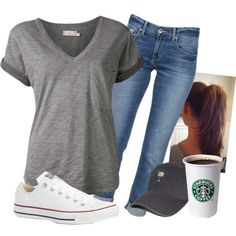 A fashion look from July 2014 featuring t shirts, blue jeans and white shoes. Browse and shop related looks.