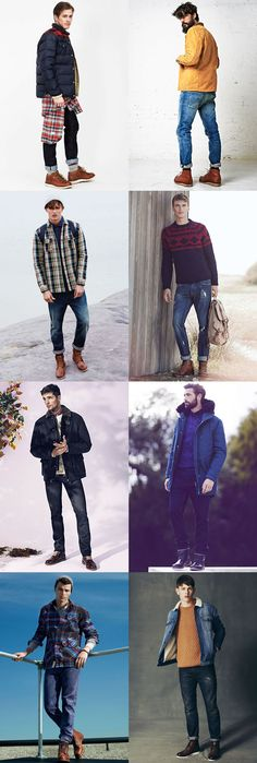 Men's Hiking Boots With Heavyweight Denim Jeans and Outdoors Pieces. Outfit Inspiration Lookbook