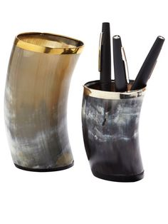 Fashionable Design: Miles Redd - Black Flair pens in horn cup