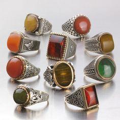 Wholesale Lot 10Pcs 925 K Sterling Silver Mens Rings Natural Amber Gemstone #eJOYA