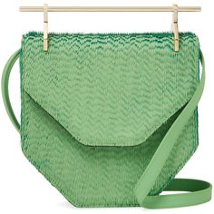 M2MALLETIER Women's Amor Fati Small Shoulder Bag - Green ($480) ❤ liked on Polyvore featuring bags, handbags, shoulder bags, green, leather shoulder handbags, green shoulder bag, shoulder strap handbags, leather shoulder bag and green leather handbag