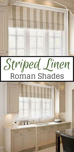 Striped linen roman shades, perfect for ant room in your home #ad #romanshades #curtain #bedroom #kitchen #kitchencurtain #bathroom