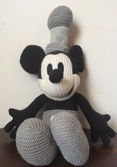 2c661eb9f4a Knit Mickey Mouse Steam Boat Willie Black White Plush 24