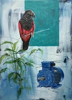 Roter Papagei - - 2017 - oil on canvas - by Gunter Pusch Wood Canvas, Oil On Canvas, Canvas Art, Original Paintings, Original Art, Enamel Paint, Figurative Art, Art Oil, Parrot