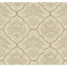 York Wallcoverings GF0726 Gold Leaf Framed Damask Wallpaper, Cream/Grey, Light Taupe, Metallic Gold - - Amazon.com