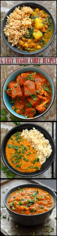 4 Easy Vegan Curry Recipes - Red Lentil, Pumpkin Curry, Butter Masala - Gluten Free, Easy, Dairy Free - Rich Bitch Cooking Blog