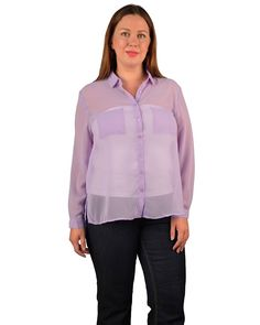 Plus Size Semi Sheer Full Sleeve Buttoned Front Top with Back Pleat Detail-id.29890b