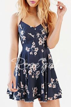 Women's Stylish Spaghetti Strap Backless Cut Out Print Dress