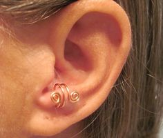 "No Piercing ""Spiraling"" Ear Cuff for Anti Tragus 1 Cuff Color Choices helix by ArianrhodWolfchild on Etsy"