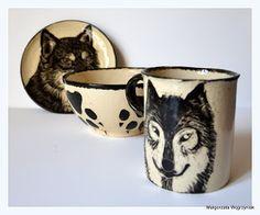 Małgorzata Węgrzyniak Zestaw sniadaniowy Wilczek #polandhandmade #MWCeramics #ceramics #ceramika #pottery #breakfast #set #sgraffito #wolf #mug #kubek #talerzyk #plates