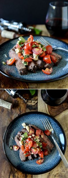 Red Wine Marinated Flank Steak with Caprese Salsa I howsweeteats.com