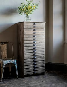 Tall Wooden Filing Cabinet by Rose