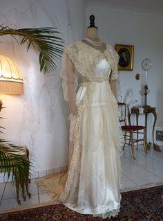 Silk Satin Wedding Gown with Train, ca. 1913
