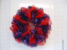 Ole Miss Wreath Tutorial Using Deco Poly Mesh and Glitter Twig Work Wreath