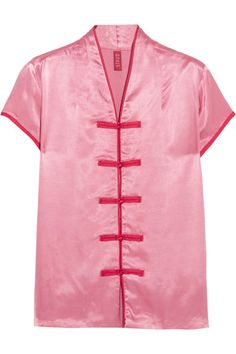 """EXCLUSIVE AT NET-A-PORTER.COM. Established by Sarah Staudinger and George Augusto, Staud is one the the coolest brands to come out of LA in recent years. Inspired by Chinese pajamas, this 'Corso' top is cut from lustrous satin with contrasting red piping and handmade button loops. From the softness of the fabric to the on-trend pink hue, it's designed so that """"you will never want to take it off,"""" says the brand."""