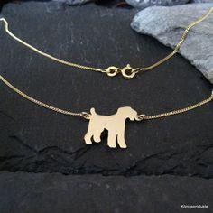 Airedale Terrier Halskette in 333er Gelbgold, Kette für Hundefreunde - NEU